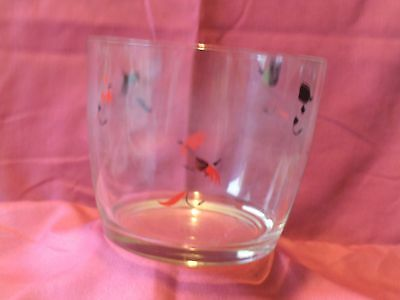 Vintage Mid-Century Fly Fishing Lures Clear Glass Ice Bucket