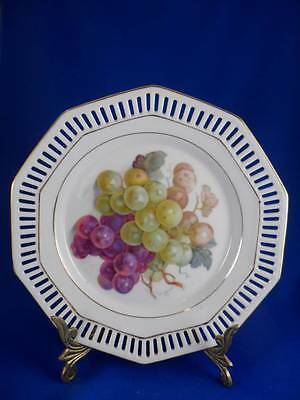 """Vintage 10-Sided Schumann Germany Grapes Reticulated/Pierced 7.5"""" Dessert Plate"""