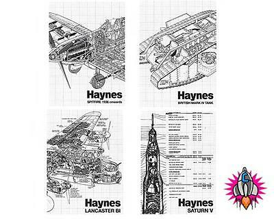 Haynes Manual Classic Transportation Set Of 4 Metal Fridge Magnets Spitfire