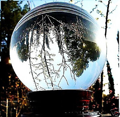 HUGE ASIAN QUARTZ CLEAR CRYSTAL BALL SPHERE 80MM + STAND + WOOD TOWER