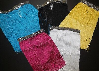 "NWT Dance 15"" Fringe Skirt Silver Sequin Waistband 5 Color Choices Ladies/Girls"