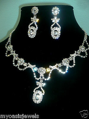 Rhinestone Choker Necklace Earring Austrian Crystal Prom Pageant Bridal Evening