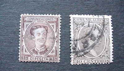 Spain 1876-99 Fine Used STAMPS / Scott #'s 225 & 264 / Classic Spanish Postage