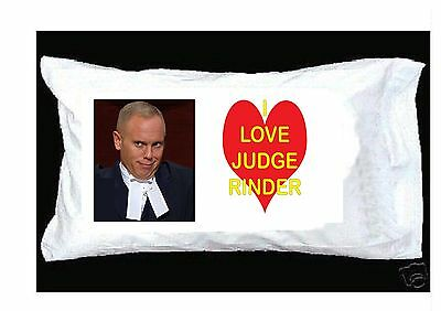 I Love Judge Rinder WHITE PILLOWCASE WITH RED HEART
