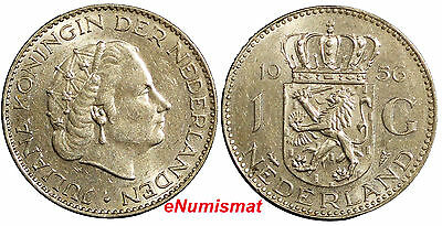 Netherlands Juliana I Silver 1956 1 Gulden 25mm KM# 184