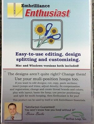 Embrilliance Enthusiast Embroidery Software for Win &Mac Editing Sizing DOWNLOAD