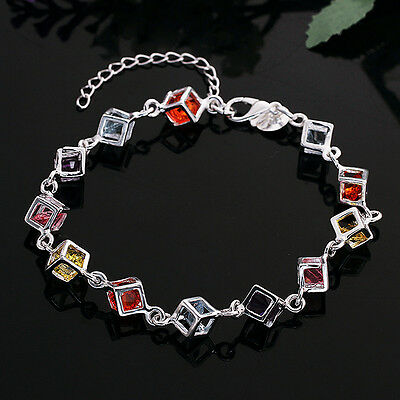 Colorful checkered insets wholesale 925 sterling silver fashion bracelet FA69