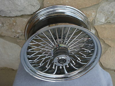 "18X10.5"" Chrome Fat Spoke Rear Dual Disc Wheel For Harley Choppers 300 Tire"