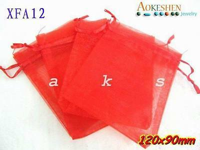 50pcs 9x12cm Red Organza Wedding Candies Packing Favour Gift Bags Pouch XFA12