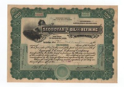 1917 Sequoyah Oil and Refining Company Stock Certificate