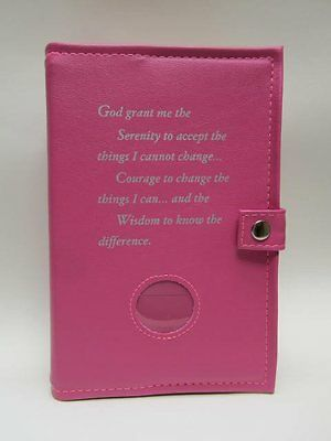 Alcoholics Anonymous AA Big Book and 12&12 Double Cover Serenity Prayer PINK