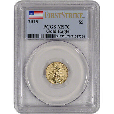 2015 American Gold Eagle (1/10 oz) $5 - PCGS MS70 - First Strike