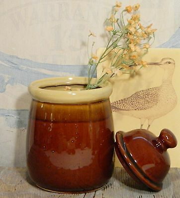 Canister/Jar/Pottery/Brown Drip Glaze/Display/Storage/Country/Farm House Chic