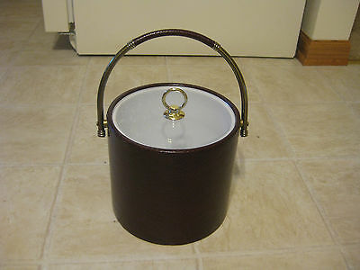 1980's Leather or vinyl Drulane Ice Bucket by Towle Co.