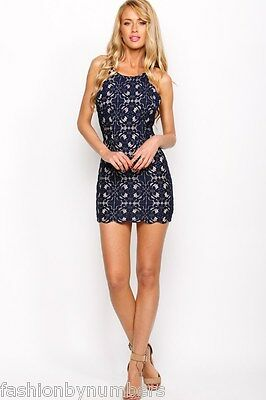 BNWT Angel Biba Navy Blue LACE Scalloped Bodycon Cocktail Party Dress 8 10 12