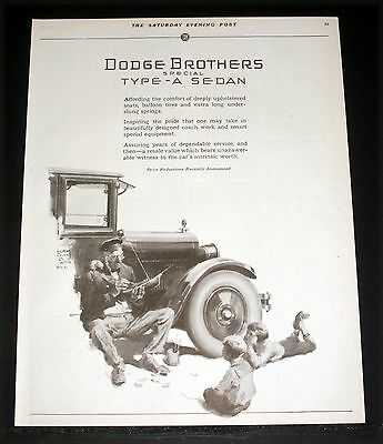 1925 Old Magazine Print Ad, Dodge Brothers, Special Type-A Sedan, Prince Art!