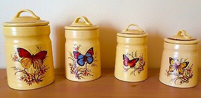 Vintage Treasure Craft Butterfly 4 Canister Set - Ceramic CA USA