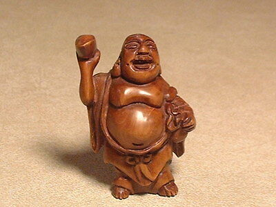 Vintage Japanese Hand Carved Boxwood Netsuke of Immortal Signed