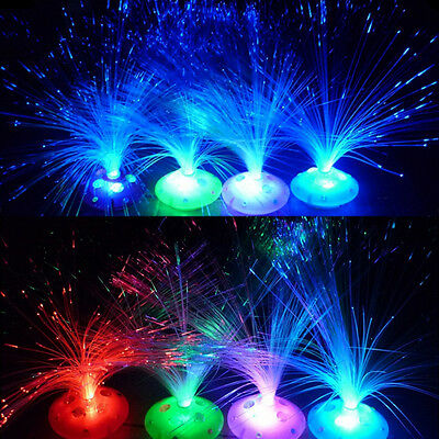 Gift Color Changing LED Fiber Optic Night Light Lamp Colorful Stand Decor