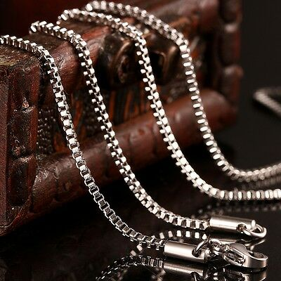 Solid 316L Stainless Steel Box Chain Necklace 1.5 MM 18 Inches