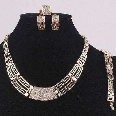 Hot African Costume Women Wedding 18k Gold Plated Crystal Necklace Jewelry Set