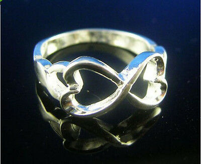 new hot! Wholesale 10pcs S80 Silver 2-heart rings rings Size 6-8 k358