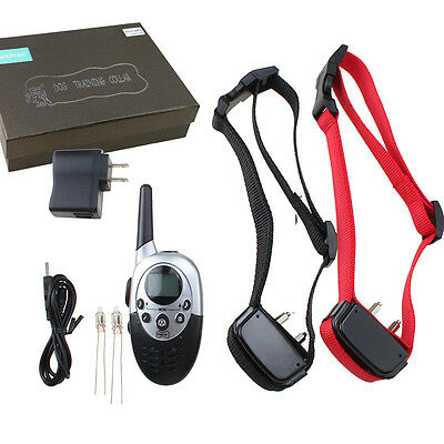 1000 Yard Rechargeable Waterproof Shock Vibra Remote Pet 2 Dogs Training Collar