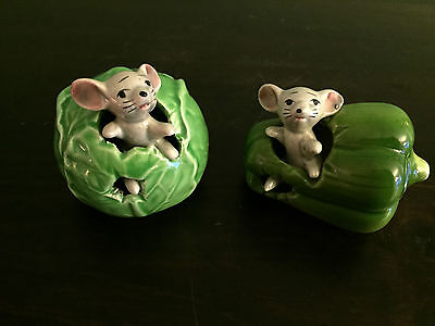 Vintage Pair of Ceramic Mouse Cabbage & Pepper Japan
