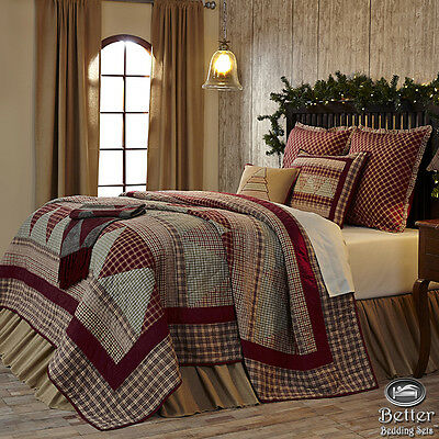 Red Green Plaid Holiday Christmas Tree Country Home Quilt Bedding Set Collection