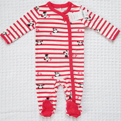 NEW Gymboree Baby Girls 6-9 mos Pandas Red White Cotton Footed One-Piece Sleeper
