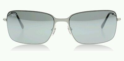 New Ray Ban RB3514 154/6G 58mm Silver / Mirror Square Frame Sunglasses