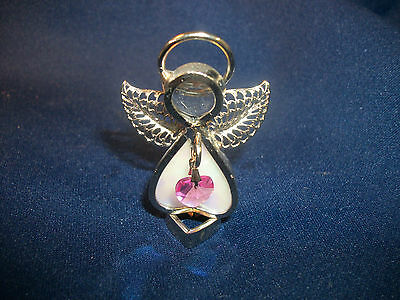 Angel Christmas Holiday October Birthday Decor Pink Stained Glass Metal Figurine