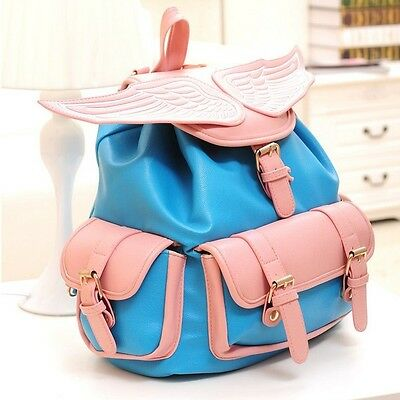 Fashion New Angel wings Women Girl's PU Leather Backpack Student handbags Blue