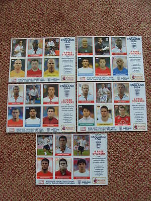 MERLIN SET 5 UNCUT STICKER SHEETS ENGLAND 2004 EURO