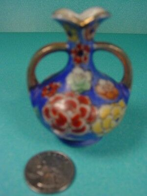"""Child's or Miniature Vase Marked Made in Japan 2 3/4"""" Tall Gold Handles & Rim"""