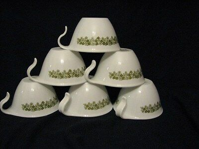 Set of 6 Vintage Corelle Spring Blossom Green  Hook Handle Cups Coffee Tea Cups