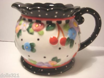 "Mary Engelbreit ""Oh So Breit"" Pitcher 2000 ME Michel & Co Cherries and Polka Dot"