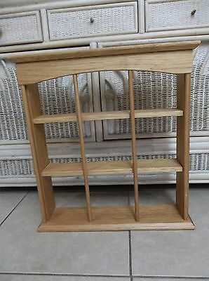 Vintage 3-Tier Wood Tea Cup & Saucer Plate Wall Shelf Display Rack Curio Cabinet