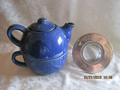 Pier 1 Stoneware Pottery Blue Tea Pot, Cup and stainless steel strainer