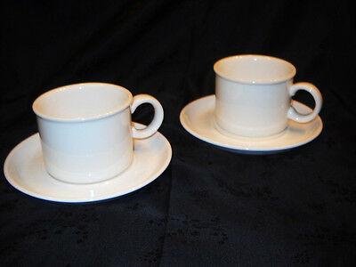 Wedgwood Midwinter Stonehenge White China Cups (2) & Saucers (2) Exclnt cond!!!