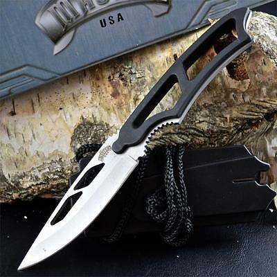 """7"""" TACTICAL ARMY COMBAT NECK KNIFE Survival Hunting BOWIE Fixed Blade w/ SHEATH"""