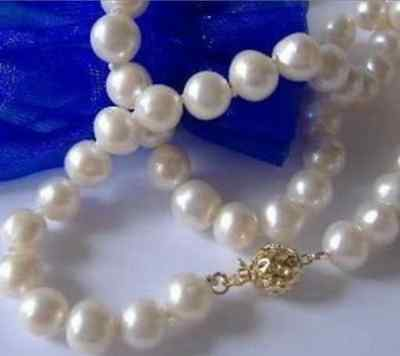 """Beautiful!8-9mm White, Akoya Cultured Pearl Necklace 18 """"A+WQ"""