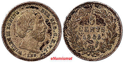 Netherlands William III Silver 1855 Sword 5 Cents Toned KM# 91