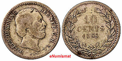 Netherlands William III Silver 1855 Sword  Better Date 10 Cents  KM# 80
