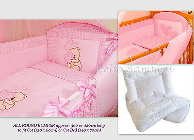 6p BeddingSetWith ALL ROUND BUMPER for Cot (120/60cm) Bed (140/70cm)100% COTTON!