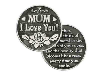 MUM, I LOVE YOU... Pocket Token With Message / Prayer 31mm Diameter Metal