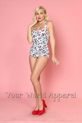 Esther Williams Cherries Delight Blue One Piece Swimsuit Retro Vintage Pinup