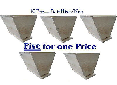 (5) Top bar beehives,  capture hives, Catch your own swarm (lot of five hives)