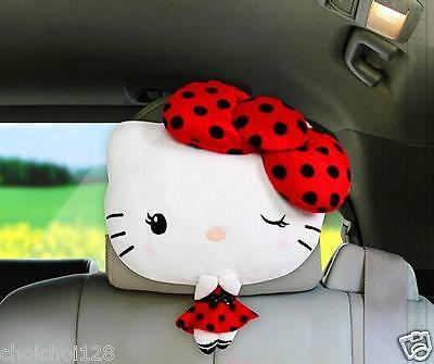 Hello Kitty Red Bow In Dress Auto Car Seat Head Rest Cushion Pillows KK365
