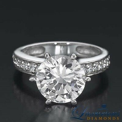 Engagement Ring With Accents 3.35 ct Certified F SI2 Round Cut Diamond Ring
